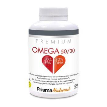 Omega 50/30 de Prisma Natural. Mejora la actividad del sistema cardiovascular y regula los niveles de triglicéridos y colesterol.